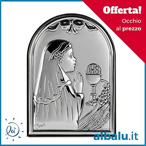 Bomboniere Comunione Bambina Icona Sacra Argento Laminato Bambina Calice Comunione in Preghiera Icona Sacra ad Arco con Retro in Legno cm 7x10