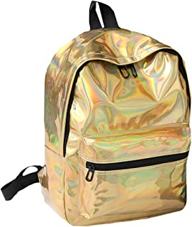 Orfila Fashion Holographic Pu Leather Backpack Glitter Casual Daypack Large Capacity Bookbag School Bag, Gold