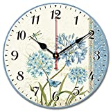 S.W.H Relojes Florales Shabby Chic Relojes de Pared Redondos Silenciosos de Madera para Sala de Estar Dormitorio Cocina Decoración Regalo 12 Pulgadas