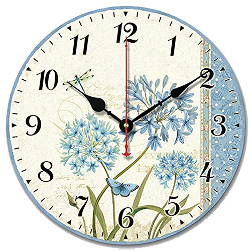 S.W.H Relojes Florales Shabby Chic Relojes de Pared Redondos