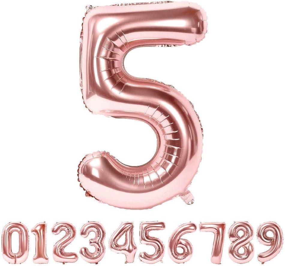 Globo Número Gigante Metalizado – Numeros Gigantes y Metalizados 0 1 2 3 4 5 6 7 8 9, 30 40 50 - Globos para Fiesta y Decoración – Globos de Cumpleaños Boda y Aniversario (Oro Rosa, 5)