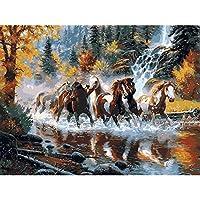 番号キットでペイント大人のためのキャンバス油絵キット3つのブラシと明るい色(フレームレス)16x20インチのアクリル絵の具-ぐんま