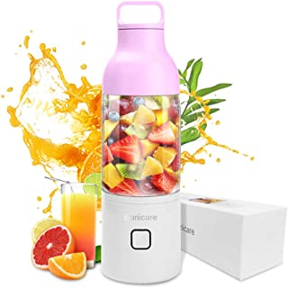 Portable Blender, Upgraded 600ML Personal Juicer Cup, 4000mAh USB Rechargeable Cordless Smoothie Small Fruit Juicer Mixer for Travel, Gym, Picnic, Office, Home, Kitchen (Pink)