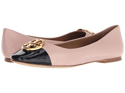 Tory Burch Chelsea Cap-Toe Ballet (Sea Shell Pink/Perfect Navy) Women