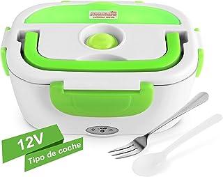 YISSVIC Fiambrera Electrica para Coche Termo Comida 40W 12V con 2 Compartimentos y Cuchara Bandeja Extraíble de Acero Inoxidable Portátil 1.05L