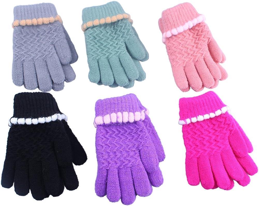 2/3 Pairs Children Kids Toddler Boy Girl Soft Imitation Wool Cashmere Winter Mittens Gloves ¡
