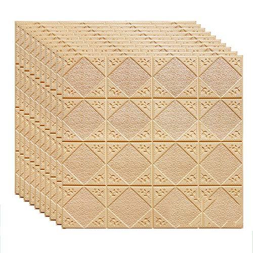 N\A QSTF 70cm PE-Schaum-Selbstklebende 3D-Wand-Aufkleber Tapete Geprägte Brick Keramik-Fliese Steinwandpaneele Abziehbilder for Schlafzimmer Küche Wohnzimmer Dekor (Color : Apricot)