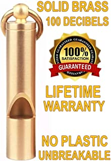 Loudest Brass Whistle | Best Premium Emergency Whistle | One Piece | Outdoor Survival Whistle | On Key-Chain or Hang Around Your Neck and Carry it Anywhere!