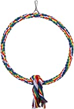 DETOP Bird Rope Perch Cage Chew Toys,Parrot Natural Cotton Swing S & L Size Climbing Standing Bar (Large)