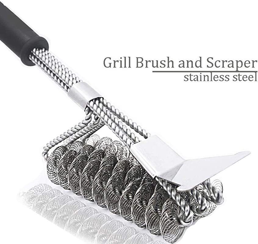 Bristle Free Barbecue Grill Cleaner Triple Head Scrubber 18 Inch Stainless Steel 100 Rust Free Grill Brush And Scrapper As BBQ Cleaner Tool Great Grilling Accessory With Tight Rotation Woven
