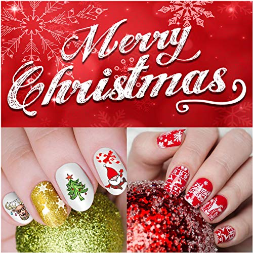 iMethod Christmas Nail Stickers - 12 Sheets Nail Decals with 1200 Xmas & Winter Designs, Easy to Apply and Remove, Perfect for Women, Girls and Kids DIY Christmas Nail Art at Home