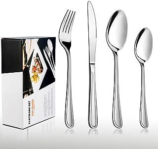 HaWare - Cubertería de 32 piezas de acero inoxidable con cuchara para cuchillos, para 8 personas, apto para pulido de espejo y lavavajillas (diseño clásico)