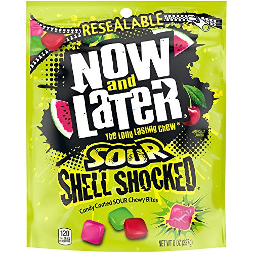 Now & Later Sour Shell Shocked Fruit Chewy Bites Candy, 8 Ounce, Pack of 6