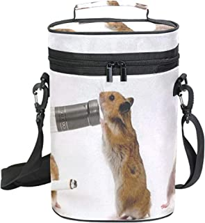 2 Bottle Insulated Wine Tote Bag Party Squirrel Wine Carrier Travel Padded Cooler Bag with Shoulder Strap, Perfect Wine Lover's Gift, Great for Picnics and Outdoor Entertaining