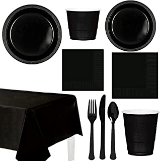 amscan Party Centre Jet Black Tableware Party Supplies For 20 Guests, Includes Table Cover, Plates, Cups, Tissues and Cutl...