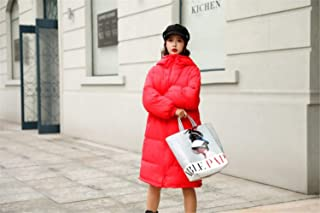 Women's Down Coat Hood Thicker Winter Slim Down Jacket Long Parka Puffer Jacket Warm Red M