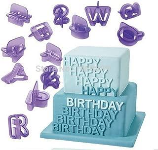 PiniceCore 40 PCS/número de Lote Letras del Alfabeto Feliz cumpleaños plástico Pasta de azúcar Que adorna el Alfabeto Fuente de la Galleta Cortador de la Galleta Set