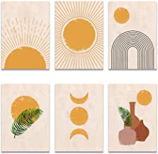 Mural Boho Wall Art Canvas Painting Sun Moon Plants Prints Abstract Terracotta Gallery Wall Pictures Nordic Posters Living...