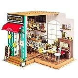 (moin moin) ドールハウス ミニチュア 手作りキットセット おしゃれなお店 LEDライト付属 (ピアノの生演奏が楽しめる珈琲屋さん)