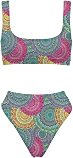 Coloranimal Tropical Hawaiian Style Womens Two Piece Swimsuit High Waisted Bathing Suits