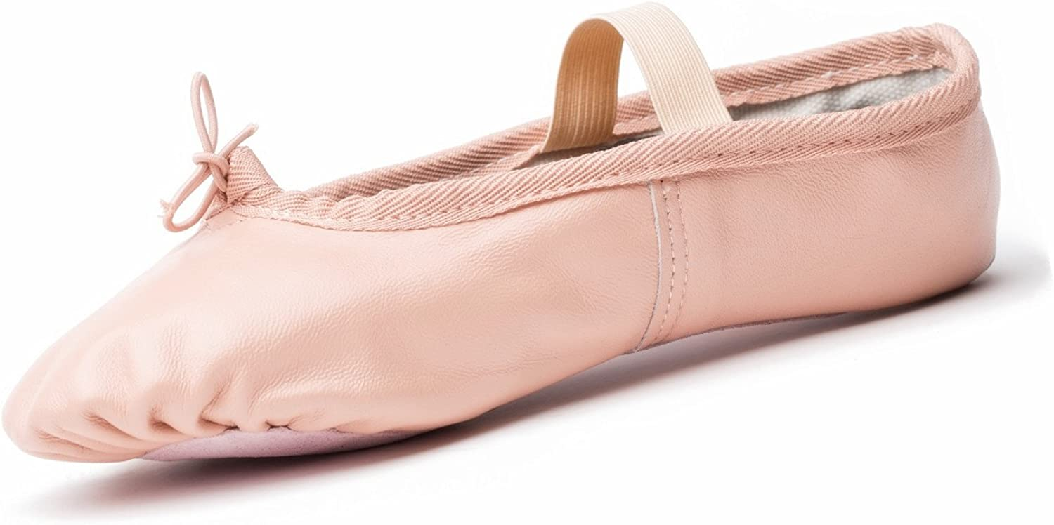 Joocare Professional Leather Ballet Dance shoes Ladies Girls Yoga Flat Dancing Slippers (Women Big Kid)