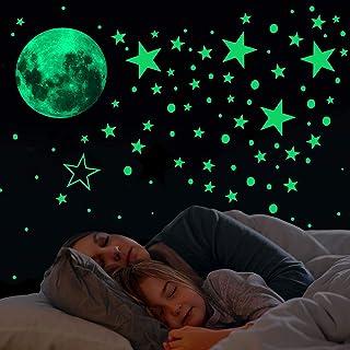 Glow in The Dark Stars and Moon Wall Stickers,433 Stks Lichtgevende Dots Sterren en Volle Maan Muurstickers Decor voor mei...