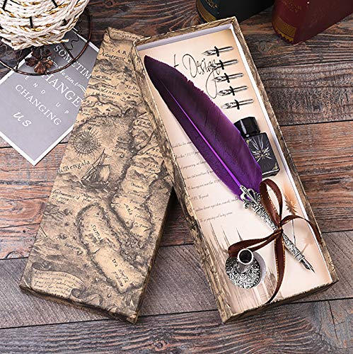 Calligraphy Pen Set Writting Quill Feather Pen 100% Hand Craft Real Feather and Stainless Steel Nib Best Antique Executive,Contains Ink no Need to Purchase Additional Ink (Purple)