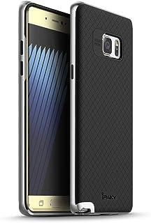 iPaky - غطاء حماية مطاطي أسود مع غطاء إطار صلب لهاتف Samsung Galaxy Note FE (فضي)