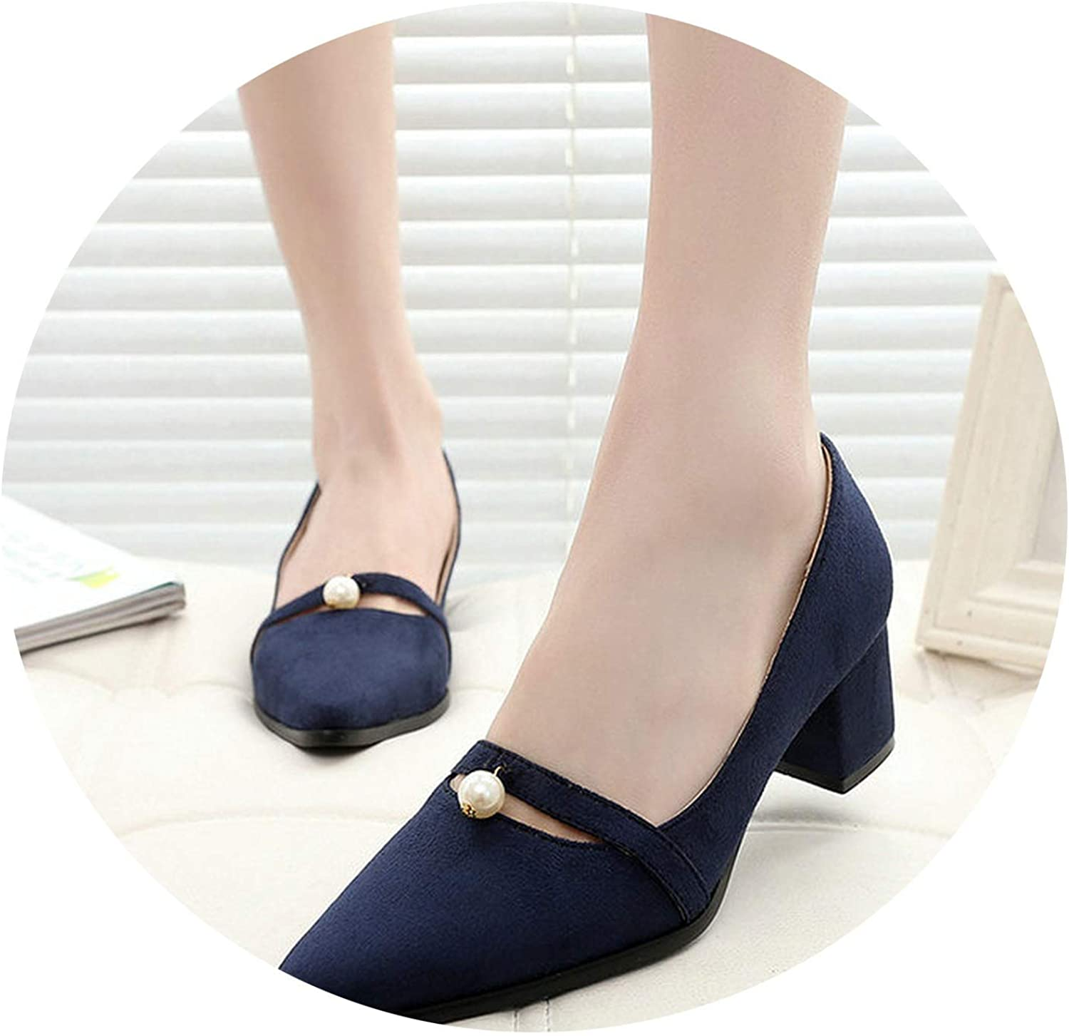 Ladies shoes Mid Heel Pumps Womens shoes Pointed Toe Woman shoes