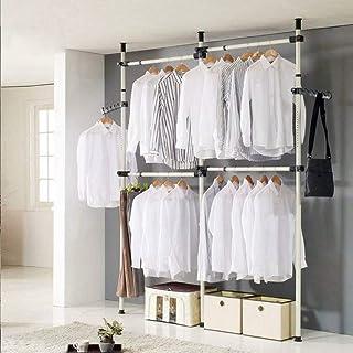 SOULONG Garde-Robe Télescopique pour Vêtements Systèmes Barres de Penderie Hauteur et Largeur Réglable Porte-Vêtements Cap...