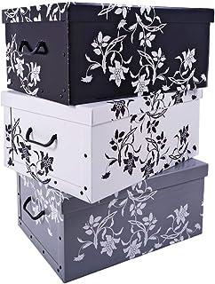 Lot de 3boîtes de rangement de 3couleurs (blanc, noir et gris), avec un contenu de 45litres chacune, motif floral, styl...