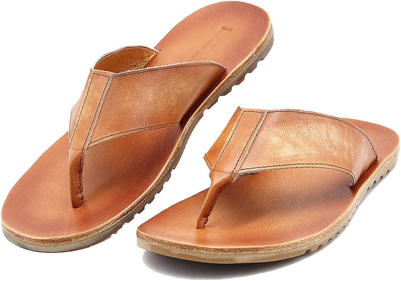 ZPJSZ Men Summer Non-Slip Herringbone Slip Fashion Casual Beach Sandals,Brown-38