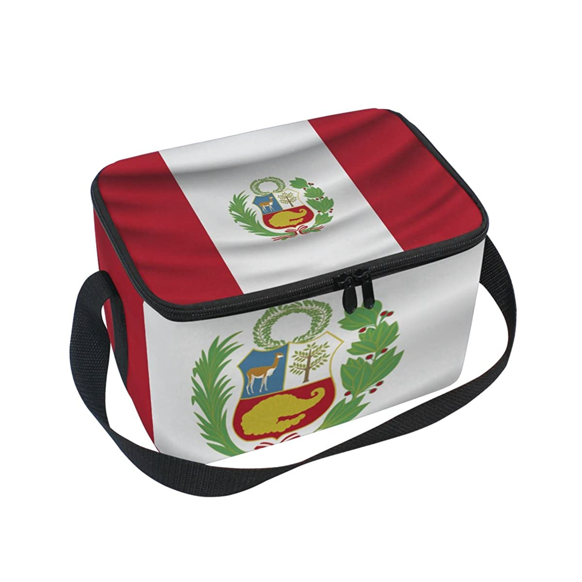 Peru Flag Insulated Lunch Box Cooler Bag Reusable Tote Picnic Bags for Travel, Camping, Hiking and RVing