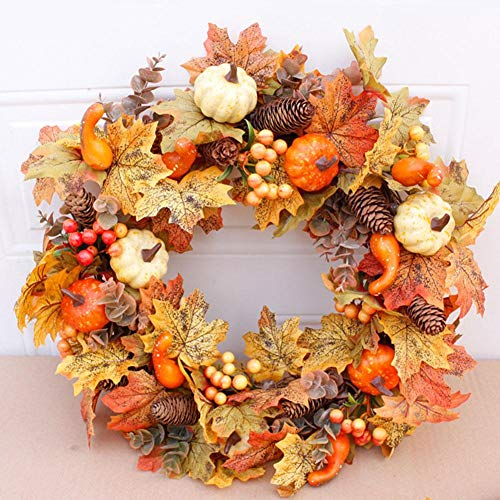 Shaying 50cm Herbstkranz, lebensechter künstlicher Kürbiskranz für die Haustür, haltbares Ahornblatt und Beerenkranzdekoration für den Oster-Erntedankfest