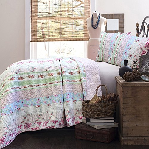 Cozy Line Pink Roses Vintage Cottage Floral Patchwork 100% Cotton Quilt Bedding Set, Bedspread (Wild Rose, Full/Queen - 3 Piece)
