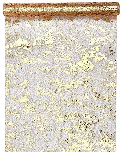 Santex 4721 Tischläufer, Polyester, Fantaisie, goldfarben glänzend