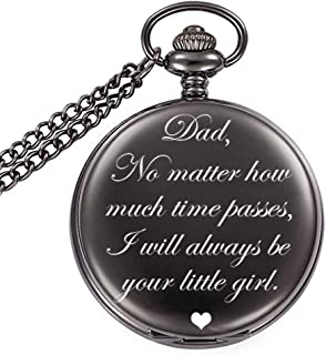 MJARTORIA Dad Gifts from Daughter to Father Personalized Engraved Retro Pocket Watch No Matter How Much Times Passes I Will Always Be Your Little Girl Dad Pocket Watch for Fathers Day Birthday