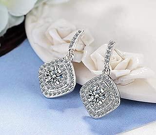 925 Sterling Silver Vintage Allure Clear CZ Stud Earrings Women Wedding Jewelry Femme Brincos
