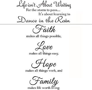 2 عبوة من ملصقات الحائط الملهمة تحفيزية العائلية، الإيمان يجعل كل الأشياء ممكن، والحب والأمل، والفن الجداري العائلي، والحي...