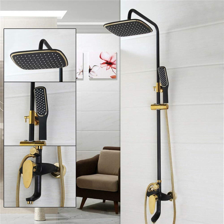 HONGSHENG Badezimmer l Reiben Bronze Und Gold Poliert Duschwanne Wasserhahn Wandbrause Set