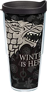 Tervis HBO Game of Thrones - House Stark Insulated Travel Tumbler with Wrap & Lid, 24 oz - Tritan, Clear
