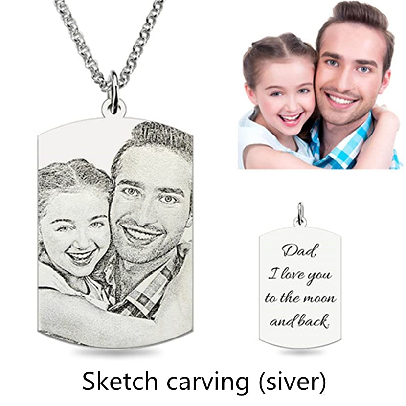 Personalized Photo Necklace Customize Pendant Portrait Necklace Dog Tag Memorial Jewelry Christmas Gift