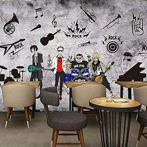 WHYBH Papel Pintado Mural De La Sala 3D Autoadhesivo (W) 350X (H) 256Cm Graffiti Hip Hop Música Personalidad Música Danza Foto Decoración De La Pared Póster Papel Pintado Dormitorio De Los Niño