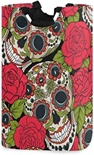 Panier à linge Sugar Skull Rose rouge Grand panier à linge sale pliable Grand sac de rangement en tissu Paniers de rangeme...