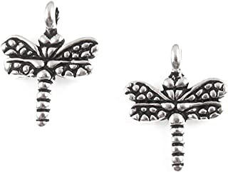 Silver Small Dragonfly Charms TierraCast Pewter Insect (4 Pieces)