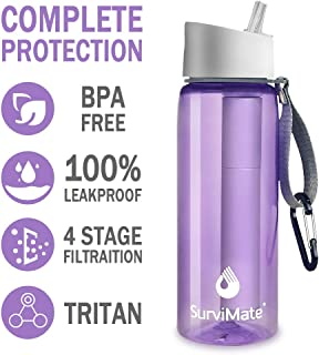 SurviMate Filtered Water Bottle, BPA Free Tumblers with 4-Stage Intergrated Filter Straw for Camping, Hiking, Backpacking and Travel