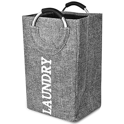 jmy Cesta de almacenamiento Haundry grande para la colada con asas, plegable, moderna cesta de lavandería para dormitorio, baratos cestas de lavandería (color gris)