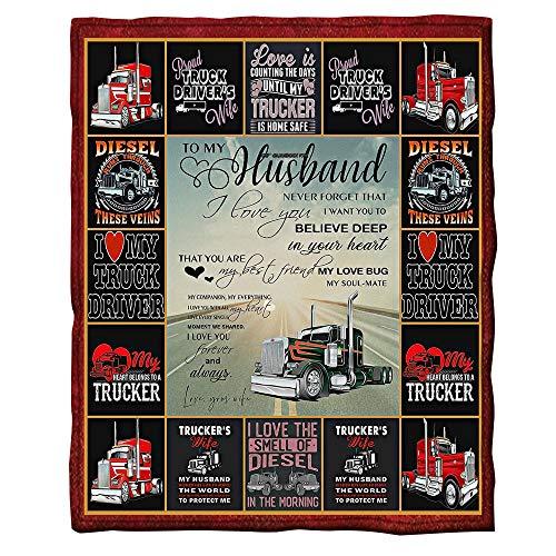 GFDFEYGF Flanell Decke Kuscheldecke 3D Brief an den Ehemann Drucken Decken Wolldecke Lauschig Weich Warm Microfaser Gemütlich Langlebig Decke für Sofa und Bett130x150cm