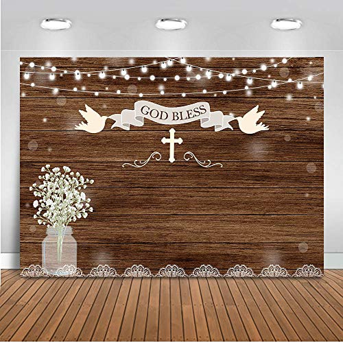 Mocsicka Baptism Backdrop 7x5ft Rustic Wood First Holy Communion Photo Backdrops God Bless Mason Jars Christening Baby Shower Party Banner Photography Background Buy Online In Dominica At Dominica Desertcart Com Productid 138560311