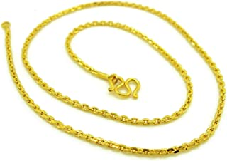 24k Thai Yellow Gold Plated Thin Chain Necklaces 18 inch Long Mini Cross Chain 2 mm Fashion Jewelry